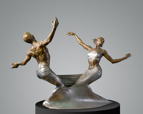 Freedom Bound, Three Quarter Life. Bronze statue by Paige Bradley