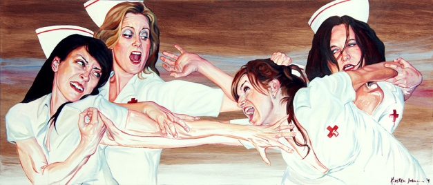Nurse Fight 3, Oil on wood, by Kirsten Johnson, 2009 - collection of Brad Daniels
