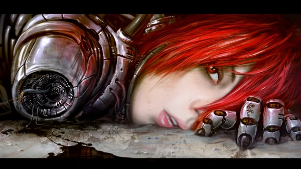 women futuristic cyborgs redheads red eyes artwork gynoid 1920x1080 wallpaper_wallpaperswa.com_3