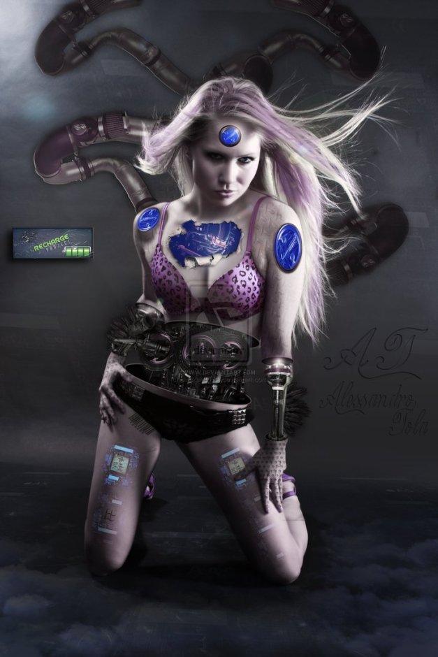 Cyborg girl on charge by Blackshark89