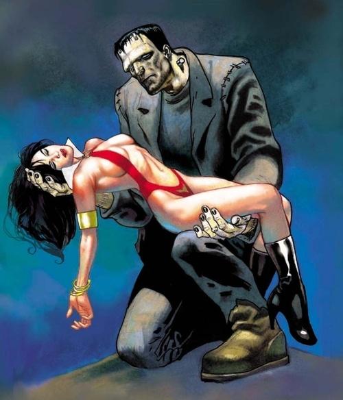 Frankenstein's Monster with my favourite comic Heroine Vampirella